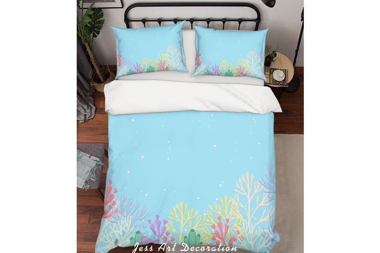 3D Colored Cartoon Coral Quilt Cover Set Bedding Set Pillowcases  73-King