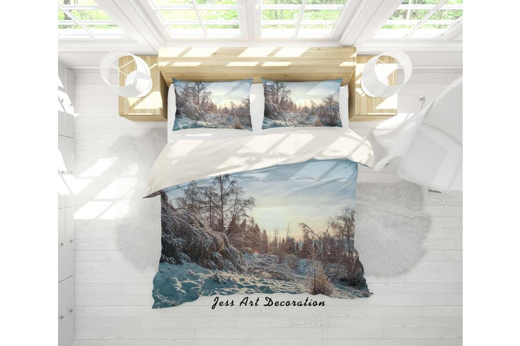 3D Snow Forest Quilt Cover Set Bedding Set Pillowcases 04-Single