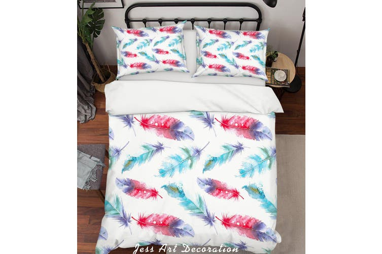 3D Color Feathers Pattern Quilt Cover Set Bedding Set Pillowcases  69-Single