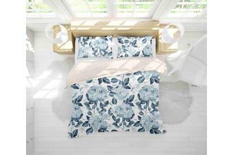 3D Grey Flowers Quilt Cover Set Bedding Set Pillowcases 41-Single
