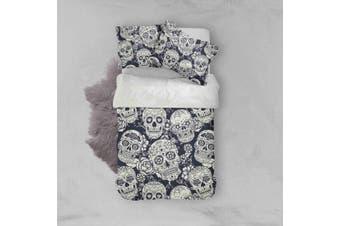 3D Grey Skull Quilt Cover Set Bedding Set Pillowcases 38-Single