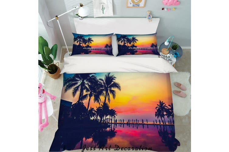 3D Sunset Tropical Beach Quilt Cover Set Bedding Set Pillowcases 53-Queen