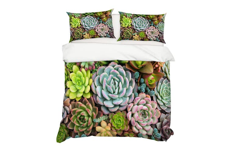 3D Green Succulents Quilt Cover Set Bedding Set Pillowcases 50-Double