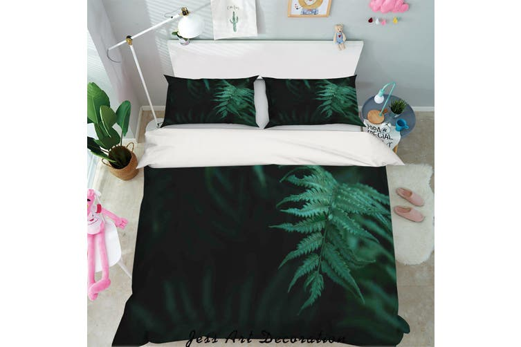 3D Green Tropical Leaves Quilt Cover Set Bedding Set Pillowcases 49-King