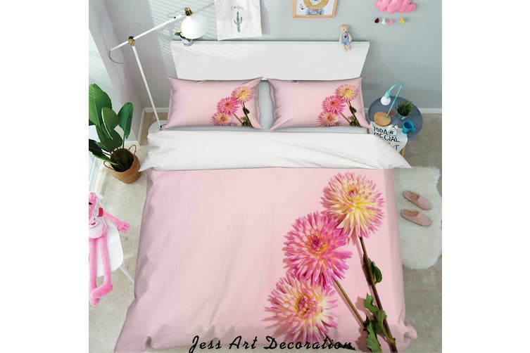3D Pink Daisy Quilt Cover Set Bedding Set Pillowcases 48-Double