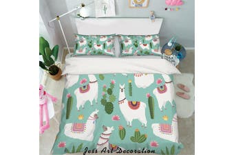 3D White Alpaca Quilt Cover Set Bedding Set Pillowcases 47-Queen