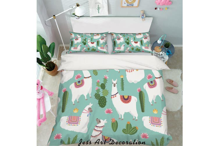 3D White Alpaca Quilt Cover Set Bedding Set Pillowcases 47-King