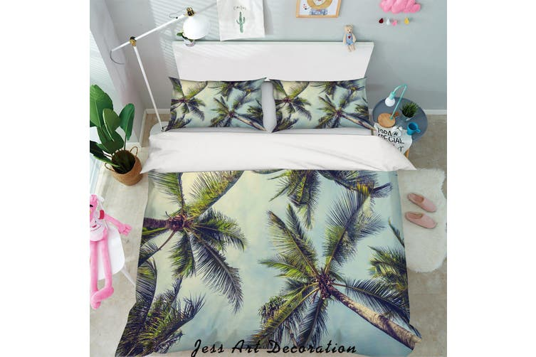 3D Green Coconut Trees Quilt Cover Set Bedding Set Pillowcases 46-King