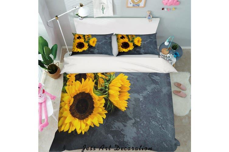 3D Yellow Sunflower Quilt Cover Set Bedding Set Pillowcases 45-Single