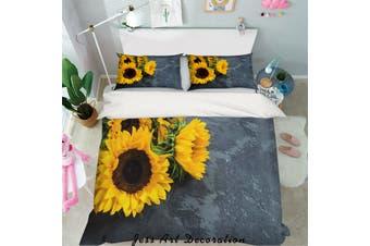 3D Yellow Sunflower Quilt Cover Set Bedding Set Pillowcases 45-Queen