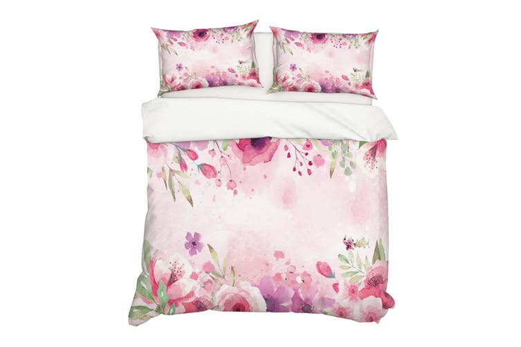 3D Watercolor Pink Floral Quilt Cover Set Bedding Set Pillowcases 42-King