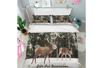 3D Winter Snow Sika Deer Quilt Cover Set Bedding Set Pillowcases 40-Queen