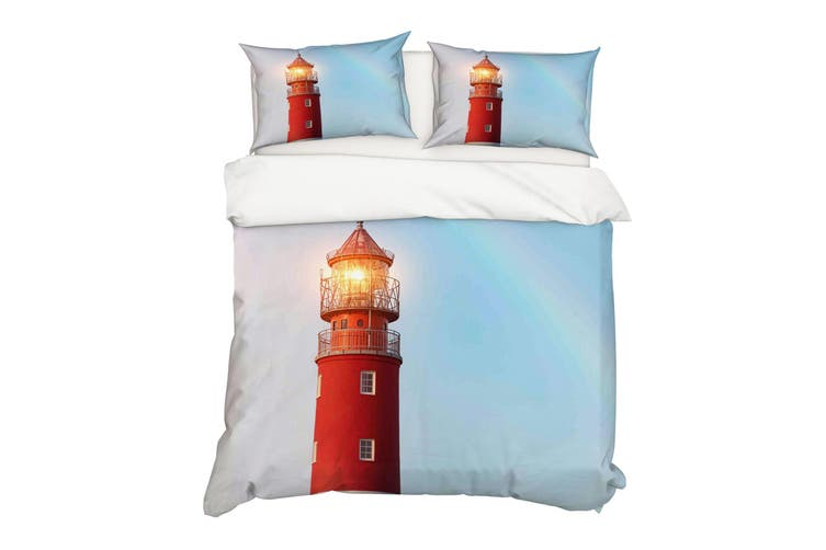 3D Red Lighthouse Quilt Cover Set Bedding Set Pillowcases 37-Single