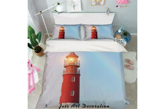 3D Red Lighthouse Quilt Cover Set Bedding Set Pillowcases 37-Double