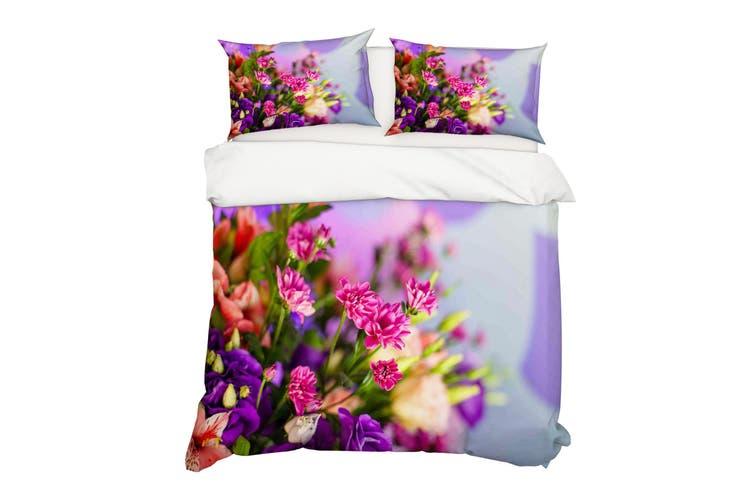 3D Pink Purple Floral Quilt Cover Set Bedding Set Pillowcases 36-Single