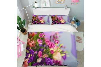 3D Pink Purple Floral Quilt Cover Set Bedding Set Pillowcases 36-Double