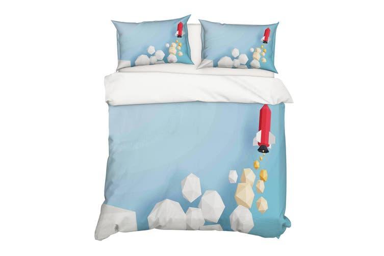 3D Cube Rocket Quilt Cover Set Bedding Set Pillowcases 21-Single
