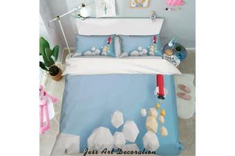 3D Cube Rocket Quilt Cover Set Bedding Set Pillowcases 21-Double