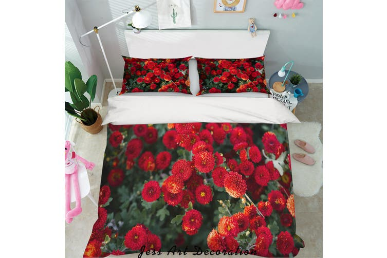 3D Red Daisy Green Leaves Quilt Cover Set Bedding Set Pillowcases 18-Queen