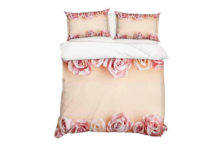 3D Pink Rose Floral Quilt Cover Set Bedding Set Pillowcases 16-Double