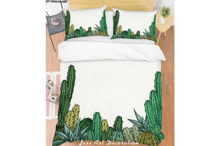 3D Cactus White Quilt Cover Set Bedding Set Pillowcases 253-Single