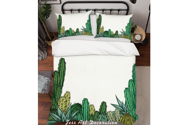 3D Cactus White Quilt Cover Set Bedding Set Pillowcases 253-King