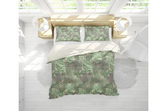 3D Green Leaves Quilt Cover Set Bedding Set Pillowcases 210-King
