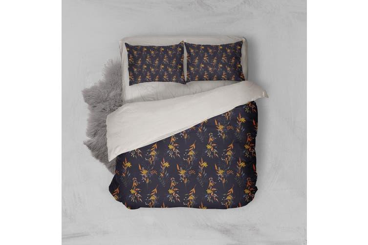 3D Black Yellow Floral Quilt Cover Set Bedding Set Pillowcases 209-Double