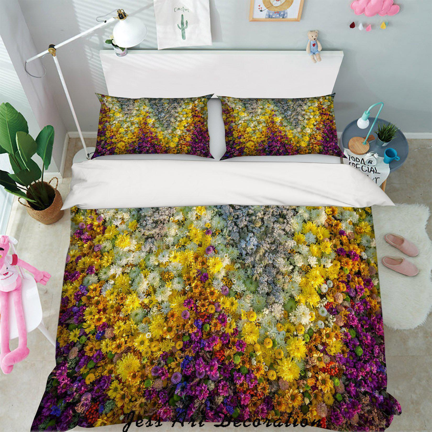 3d Yellow Purple Floral Quilt Cover Set Bedding Set Pillowcases 09 Queen Matt Blatt