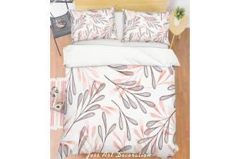 3D Grey Leaves Quilt Cover Set Bedding Set Pillowcases 233-Single