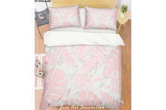 3D Pink Palm Leaves Marble Quilt Cover Set Bedding Set Pillowcases 28-Queen