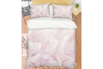 3D Light Pink Feathers Quilt Cover Set Bedding Set Pillowcases 21-Double