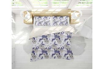 3D Grey Blue White Floral Quilt Cover Set Bedding Set Pillowcases 165-Single
