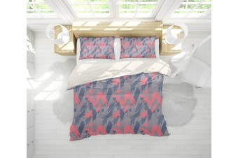 3D Grey Red Smear Quilt Cover Set Bedding Set Pillowcases 163-Single