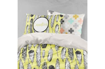 3D White Grey Feathers Quilt Cover Set Bedding Set Pillowcases 94-Single