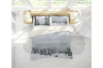 3D Snow Pine Forest Quilt Cover Set Bedding Set Pillowcases 93-Single