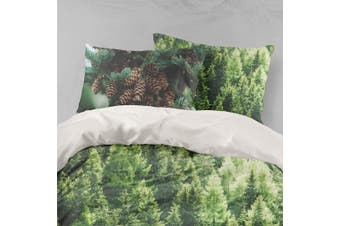 3D Green Pine Forest Quilt Cover Set Bedding Set Pillowcases 88-King