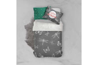 3D White Dragonfly Grey Quilt Cover Set Bedding Set Pillowcases 67-Single