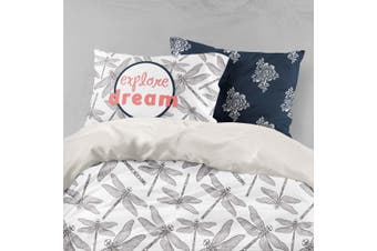 3D Grey Dragonfly Quilt Cover Set Bedding Set Pillowcases 66-Single