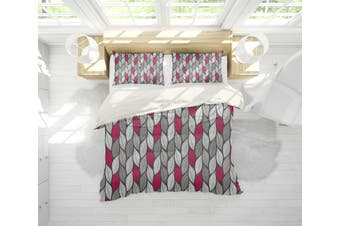 3D Black Grey Red Leaves Quilt Cover Set Bedding Set Pillowcases 140-Single