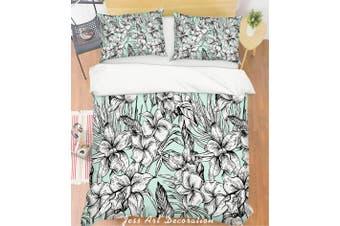 3D Grey Flowers Quilt Cover Set Bedding Set Pillowcases 139-Single