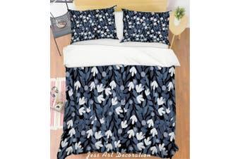 3D Grey Leaves Quilt Cover Set Bedding Set Pillowcases 133-Single