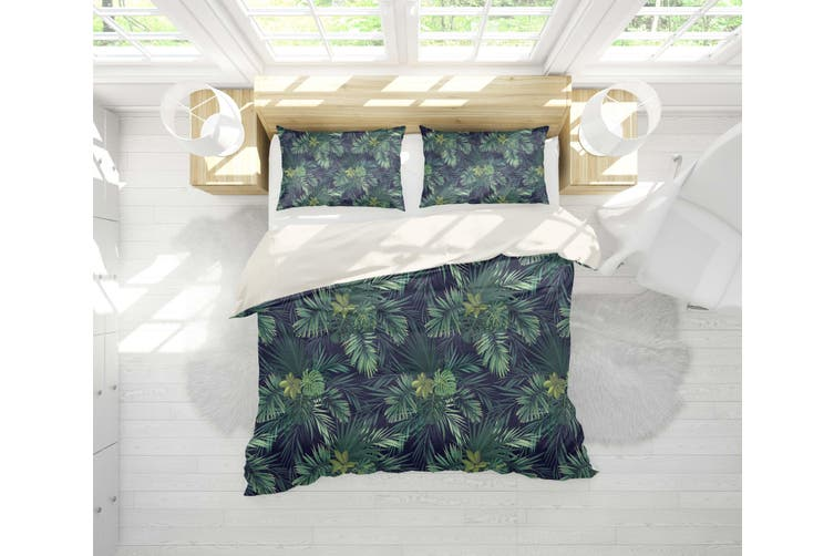 3D Green Tropical Leaves Quilt Cover Set Bedding Set Pillowcases 106-Single