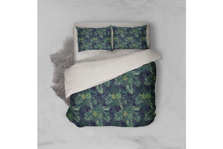 3D Green Tropical Leaves Quilt Cover Set Bedding Set Pillowcases 106-King