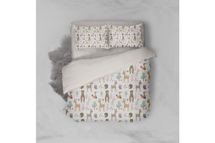 3D Bear Elk Fox Rabbit Hedgehog Mushroom Trees Quilt Cover Set Bedding Set Pillowcases 110-Double