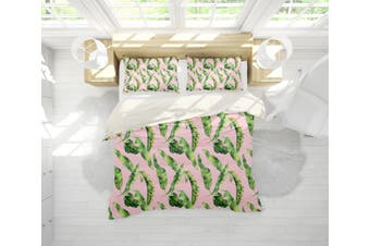 3D Pink Green Tropical Leaves Quilt Cover Set Bedding Set Pillowcases 109-Double