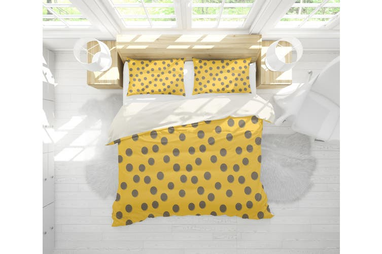 3D Yellow Circle Quilt Cover Set Bedding Set Pillowcases 107-Double