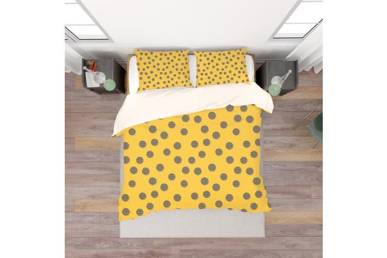 3D Yellow Circle Quilt Cover Set Bedding Set Pillowcases 107-Queen