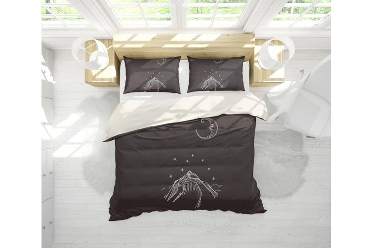 3D Moon Mountain Simple Line Drawing Quilt Cover Set Bedding Set Pillowcases  65-Queen