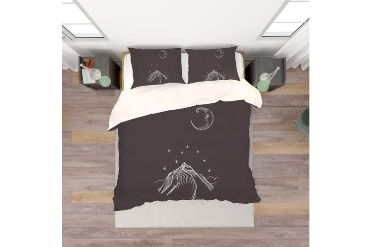 3D Moon Mountain Simple Line Drawing Quilt Cover Set Bedding Set Pillowcases  65-King